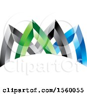 Design Of Green Blue And Black Arrows Or Triangles