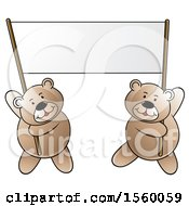 Bears Holding Up A Blank Banner