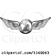 Clipart Of A Silver Winged Globe Royalty Free Vector Illustration
