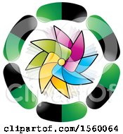 Clipart Of A Colorful Pinwheel In A Circle Of Pills Royalty Free Vector Illustration