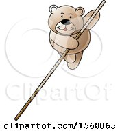 Clipart Of A Bear Pole Vaulting Royalty Free Vector Illustration