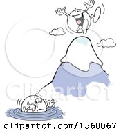 Clipart Of A Moodie Character Up To His Elbows In Water And Another Happy At The Top Of A Mountain Royalty Free Vector Illustration