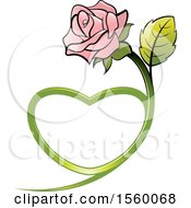 Poster, Art Print Of Pink Rose Flower With A Heart Shaped Stem