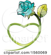 Poster, Art Print Of Turquoise Rose Flower With A Heart Shaped Stem