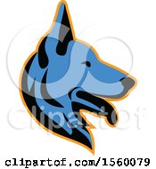Clipart Of A Retro Blue Alsatian German Shepherd Dog Mascot In Profile Royalty Free Vector Illustration