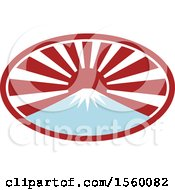 Clipart Of A Retro Mount Fuji With Snow And A Japanese Sunrise Oval Royalty Free Vector Illustration