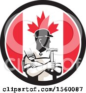 Retro Male Handyman Holding A Paintbrush And Hammer In A Canadian Flag Circle