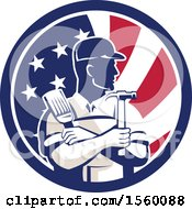 Retro Male Handyman Holding A Paintbrush And Hammer In An American Flag Circle