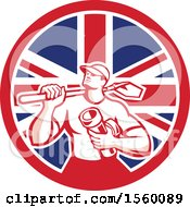 Retro Drainlayer Man Carrying A Shovel And Pipe In A Union Jack Flag Circle