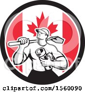 Retro Drainlayer Man Carrying A Shovel And Pipe In A Canadian Flag Circle