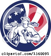 Retro Drainlayer Man Carrying A Shovel And Pipe In An American Flag Circle