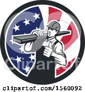Retro Male Carpenter Carrying Lumber And Giving A Thumb Up In An American Flag Circle
