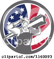 Poster, Art Print Of Retro Male Construction Worker Shielding His Eyes And Carrying A Beam In An American Flag Circle