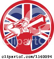 Poster, Art Print Of Retro Male Construction Worker Shielding His Eyes And Carrying A Beam In A Union Jack Flag Circle