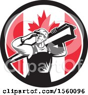 Poster, Art Print Of Retro Male Construction Worker Shielding His Eyes And Carrying A Beam In A Canadian Flag Circle
