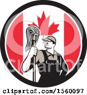 Retro Male Janitor With A Mop In A Canadian Flag Circle