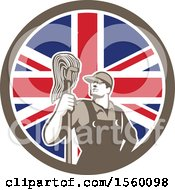 Retro Male Janitor With A Mop In A Union Jack Flag Circle