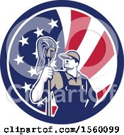 Retro Male Janitor With A Mop In An American Flag Circle