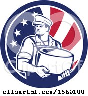 Retro Male Cheesemaker Holding A Parmesan Round In An American Flag Circle
