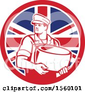 Retro Male Cheesemaker Holding A Parmesan Round In A Union Jack Flag Circle