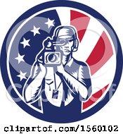 Poster, Art Print Of Retro Woodcut Camera Man In An American Flag Circle