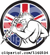 Poster, Art Print Of Retro Zeus Holding A Thunder Bolt In A Union Jack Flag Circle