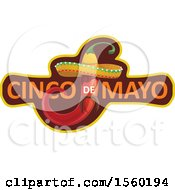 Clipart Of A Cindo De Mayo Design With A Mexican Pepper Wearing A Sombrero Hat Royalty Free Vector Illustration by Vector Tradition SM