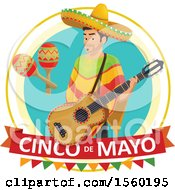Clipart Of A Cindo De Mayo Design With A Man Holding A Guitar Royalty Free Vector Illustration by Vector Tradition SM