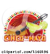 Clipart Of A Cindo De Mayo Design With A Guitar And Margarita Royalty Free Vector Illustration by Vector Tradition SM
