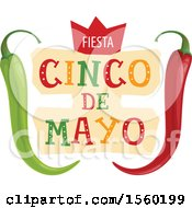 Clipart Of A Cindo De Mayo Design With Peppers Royalty Free Vector Illustration by Vector Tradition SM