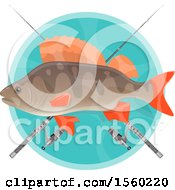 Clipart Of A Fish Over Crossed Poles Royalty Free Vector Illustration