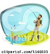 Clipart Of A Man Reeling In A Fish Royalty Free Vector Illustration