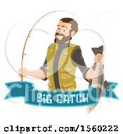 Man Holding A Caught Fish Over A Big Catch Banner