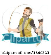 Clipart Of A Man Holding A Caught Fish Over A Banner Royalty Free Vector Illustration