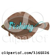 Clipart Of A Flounder With Fishing Text Royalty Free Vector Illustration