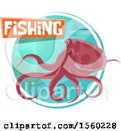 Octopus With Fishing Text Over A Circle Of Sea Life