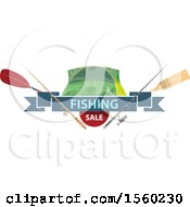 Clipart Of A Fishing Design With Gear With Sale Text Royalty Free Vector Illustration