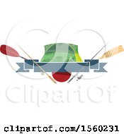 Clipart Of A Fishing Design With Gear Royalty Free Vector Illustration