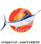 Clipart Of A Marlin Fish Over A Circle Royalty Free Vector Illustration