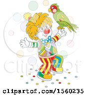Clipart Of A Cute Clown With A Parrot Royalty Free Vector Illustration