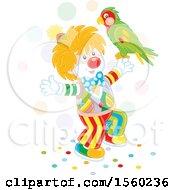 Cute Clown Holding A Parrot