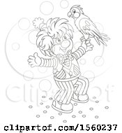 Lineart Clown With A Parrot