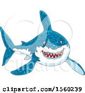Clipart Of A Tough Great White Shark Royalty Free Vector Illustration
