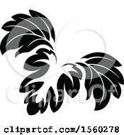 Black And White Floral Damask Relief Design Element