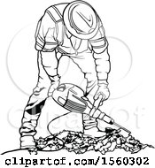 Clipart Of A Black And White Worker Operating A Pneumatic Drill Royalty Free Vector Illustration