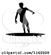 Clipart Of A Silhouetted Surfer With A Reflection Or Shadow On A White Background Royalty Free Vector Illustration by AtStockIllustration