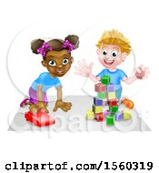 Clipart Of A Black Girl And White Boy Playing With A Toy Car And Blocks Royalty Free Vector Illustration