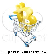 Clipart Of A 3d Gold Bitcoin Currency Symbol In A Shopping Cart Royalty Free Vector Illustration by AtStockIllustration