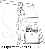 Clipart Of A Cartoon Lineart Black Male Furnace Installer Adjusting A Pipe Royalty Free Vector Illustration