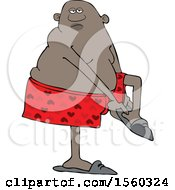 Clipart Of A Cartoon Black Man Putting His Slippers On Royalty Free Vector Illustration